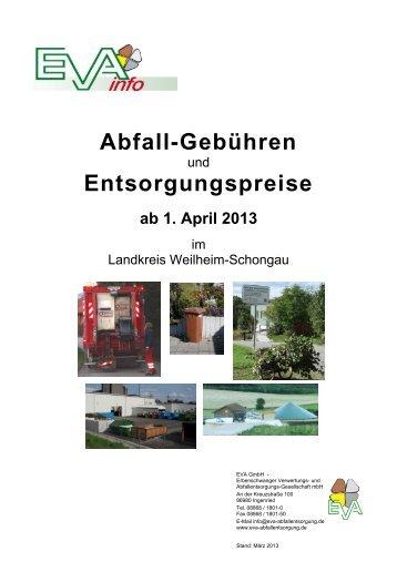 Abfallgebühren des LK Weilheim-Schongau ab 1.1.2013