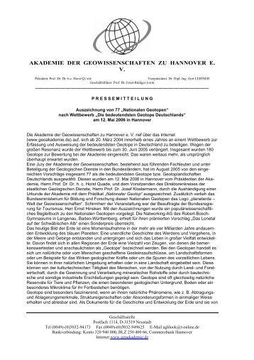 """""""Die bedeutendsten Geotope Deutschlands"""" am 12. Mai 2006 in"""