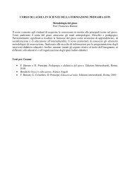 CORSO DI LAUREA IN SCIENZE DELLA ... - Lettere e filosofia