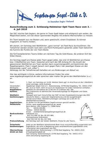 Ausschreibung zum 2. Schleswig-Holsteiner Opti Team Race vom 3 ...