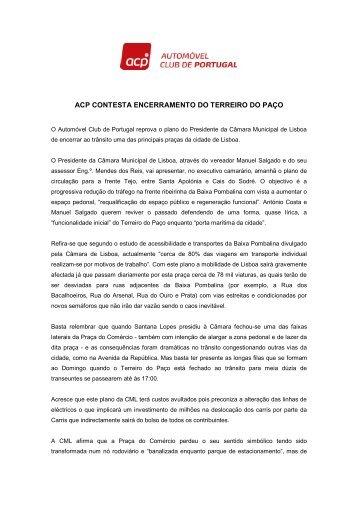 ACP contesta encerramento do Terreiro do Paço ao trânsito.