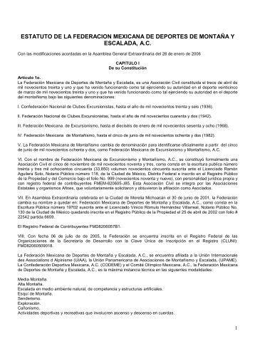 estatuto de la federacion mexicana de deportes de montaña y ...