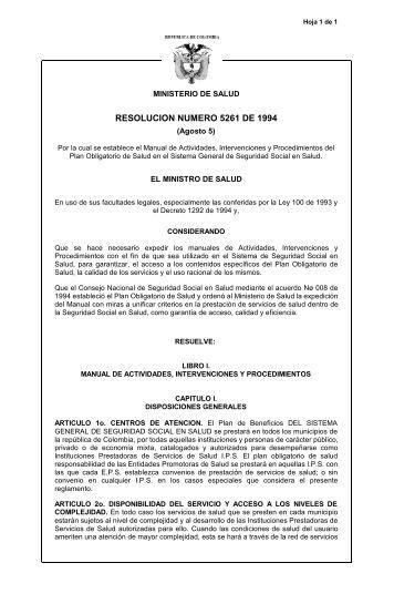 RESOLUCION NUMERO 5261 DE 1994
