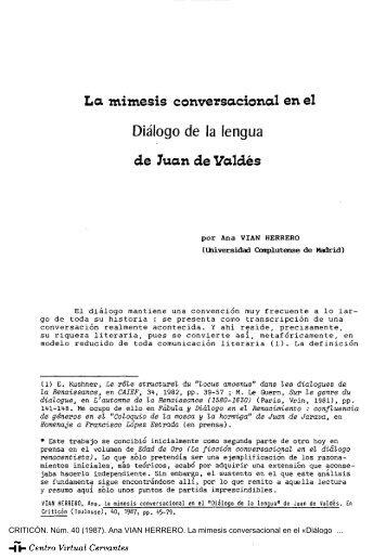 La mimesis conversacional en el «Diálogo de la lengua» de Juan ...