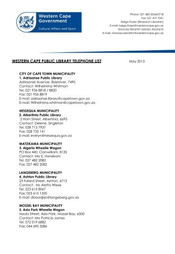 WESTERN CAPE PUBLIC LIBRARY TELEPHONE LIST
