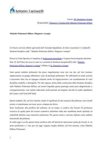 Malattie Polmonari diffuse - Azienda Ospedaliera Antonio Cardarelli