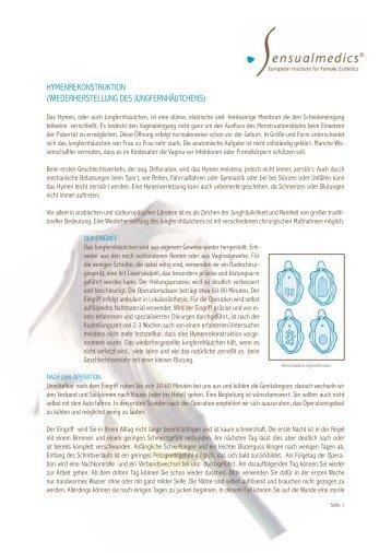hymenrekonstruktion (wiederherstellung des ... - Sensualmedics