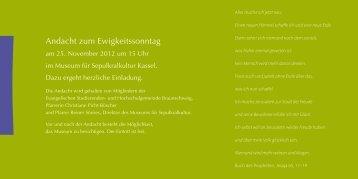 Andacht zum Ewigkeitssonntag - Museum für Sepulkralkultur