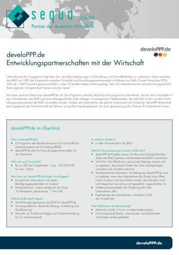 develoPPP.de Entwicklungspartnerschaften mit der ... - sequa gGmbH
