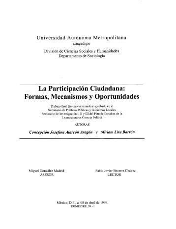 La Participación Ciudadana: Formas, Mecanismos y Oportunidades