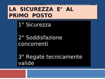 LA SICUREZZA AL PRIMO POSTO - Comitato II Zona