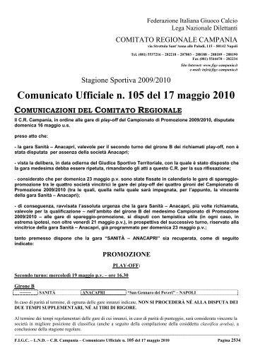 Comunicato Ufficiale n. 105 del 17 maggio 2010 - Figc Campania