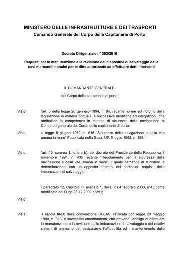MINISTERO DELLE INFRASTRUTTURE E DEI ... - Guardia Costiera