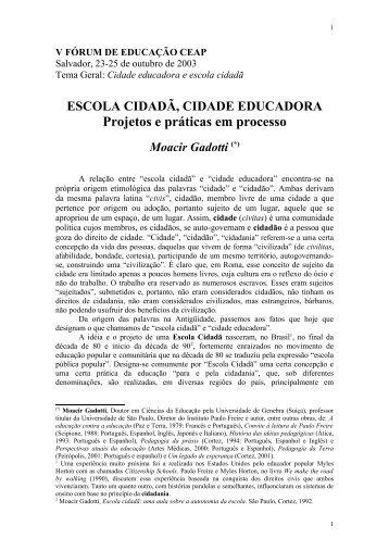 ESCOLA CIDADÃ, CIDADE EDUCADORA - Instituto Paulo Freire
