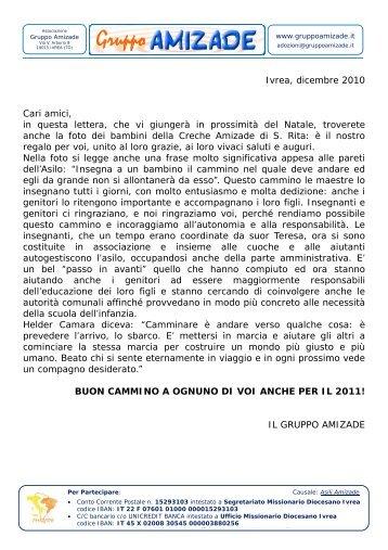 Ivrea, dicembre 2010 Cari amici, in questa lettera ... - Gruppo Amizade