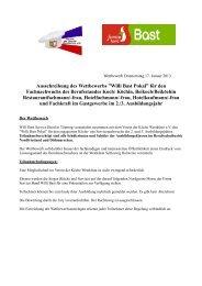Ausschreibung Willi Bast Pokal 2013 Service