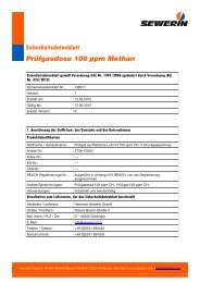 Sicherheitsdatenblatt Prüfgasdose 100 ppm Methan - Sewerin