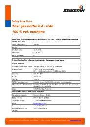 Methane, 100 % vol., test gas bottle 0.4 l - Sewerin