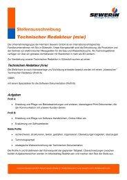 Stellenausschreibung Technischer Redakteur (m/w) - Sewerin