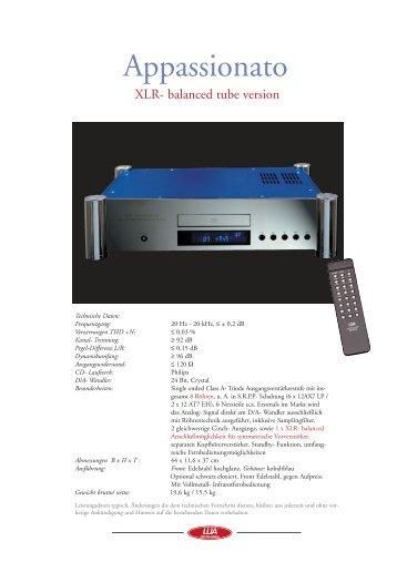 Prospekt Röhre Appassionato Mk.II XLR.qxd - Lua HiFi
