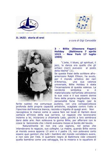 IL JAZZ: storia di eroi a cura di Gigi Cancedda 3 - Billie (Eleonora ...