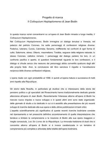 Progetto di ricerca Il Colloquium Heptaplomeres di ... - Istituto Banfi