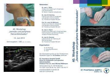 Flyer -Workshop Regionalanästhesie - St. Franziskus-Hospital