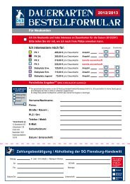 Dauerkarten BESTELLFORMULAR - SG Flensburg-Handewitt