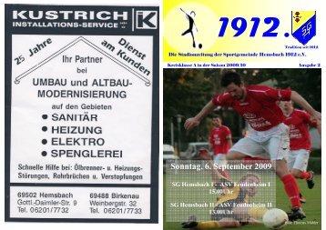 Sonntag, 6. September 2009 - Sportgemeinde Hemsbach 1912 eV