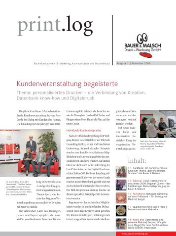 Ausgabe 1 November 2008 - Bauer & Malsch Druck + Werbung Gmbh