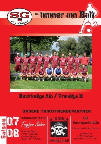 Stadionheft Saison 07/08 (PDF) - SG Reutlingen e.V.