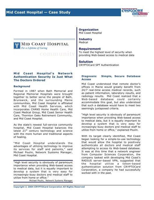 Mid Coast Hospital — Case Study - senetec