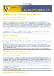 Alle Berichte der C1-Jugend, Saison 2011/2012 - SG 2010 Waldsolms