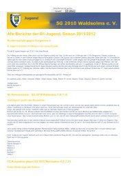 Alle Berichte der B1-Jugend, Saison 2011/2012 - SG 2010 Waldsolms