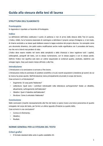 Guida alla stesura della tesi di laurea - Università Gabriele d'Annunzio