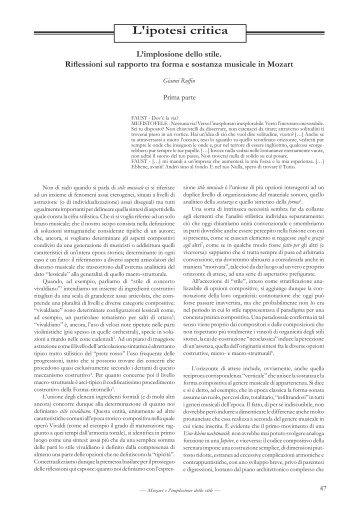 L'ipotesi critica - Diastema | Studi e Ricerche