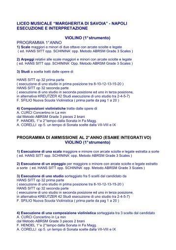 violino + inegrat. II anno - IIS Margherita di Savoia Napoli