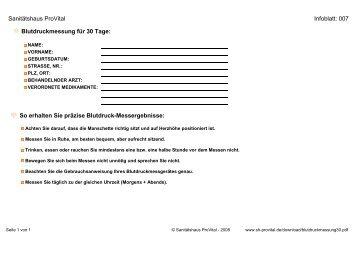 Sanitätshaus ProVital Infoblatt: 007 Blutdruckmessung für 30 Tage ...