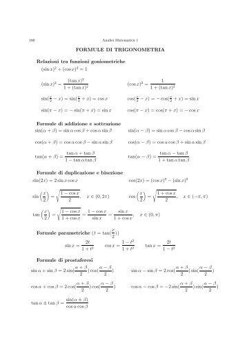 FORMULE DI TRIGONOMETRIA Relazioni tra funzioni ...