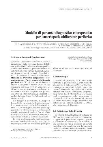 Modello di percorso diagnostico e terapeutico per l ... - Sidv.net