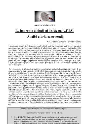 Le impronte digitali ed il sistema A.F.I.S: Analisi ... - Crimini Seriali