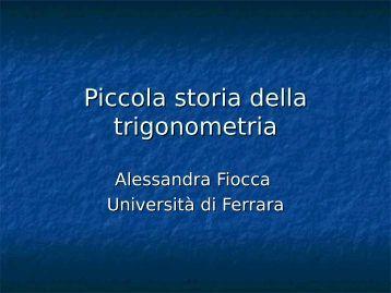 """Piccola storia della trigonometria - Dipartimento di Matematica """"U ..."""