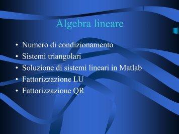 Algebra lineare - Corsi di Laurea a Distanza