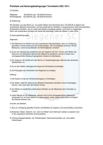 Preisliste und Nutzungsbedingungen Tennisheim ... - Siegener SC