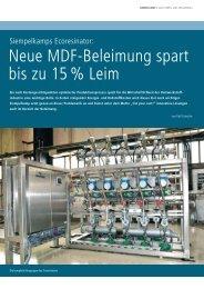Neue MDF-Beleimung spart bis zu 15 % Leim - Siempelkamp