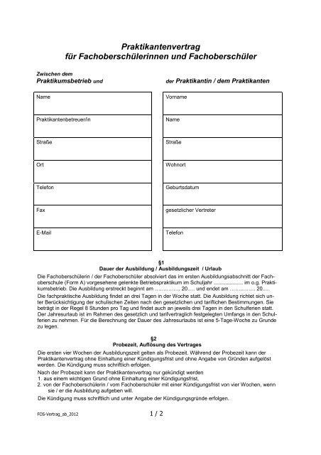 Mustervertrag Praktikum Werner Von Siemens Schule