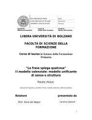 Il modello valenziale - Libera Università di Bolzano