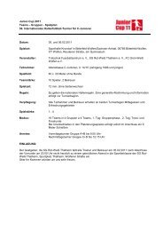 Ausschreibung Junior Cup 2011 NEUER SPIELPLAN