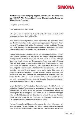 Rede Wolfgang Moyses - Simona AG