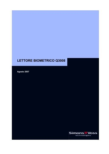 LETTORE BIOMETRICO Q3008 - SimonsVoss technologies
